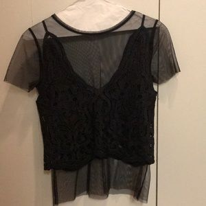 Lace and mesh top